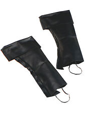 Deluxe Pirate Boot Covers Blackbeard Mens Fancy Dress Accessory Shoe New Black
