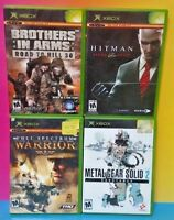 4 Games Lot Microsoft Xbox OG Brothers in Arms Metal Gear Hitman Full Spectrum