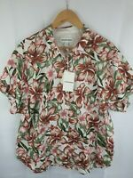 COUNTRY ROAD button up floral print short sleeve cotton shirt womans size 14