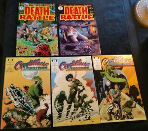 Death Rattle V2 #1, #8(Schultz,1st Xenozoic Tales),Cadillacs and Dinosaurs 1,3,4