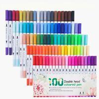 100 Color Marker Pen Set Graphic Sketch Art Paint Pens Twin Tip Brush Gift New