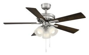 HAMPTON BAY Sinclair 44 in. LED Indoor Brushed Nickel Ceiling Fan with Light Kit