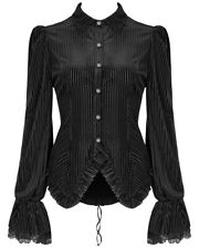 Punk Rave Womens Gothic Steampunk Blouse Top Shirt Black Velvet Victorian Corset