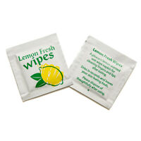 100 Lemon Fresh Handy Wet Hand Wipes Takeway Travel Party Face Camping Food