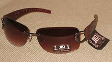 New JLO by Jennifer Lopez Womans Sunglasses Red Textured Leather Design & Pouch
