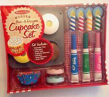 New Melissa & Doug Bake & Decorate Wooden Cupcake Set