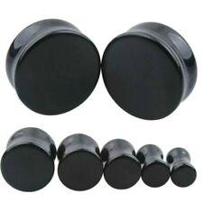 0 5/32in-0 15/16in Stone Ear Plug Black Agate Onyx Tunnel Piercing Flesh New