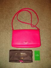 KATE SPADE COBBLE HILL DEEP HOT PINK KRISTIE PEBBLED LEATHER CROSSBODY BAG NWT