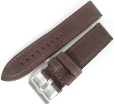 Mens Brown Distressed Saddle Leather 22mm *LONG* Watch Band Silver Tone Buckle