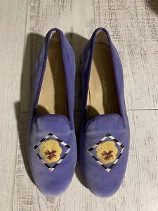 Stubbs & Wooton Velvet Pansy Shoe 8