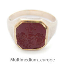 antique Men's seal ring 750 Gold Carnelian Coat of arms Nobility intaglio