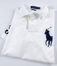 Ralph Lauren Polo Camisa Para Hombre calce ceñido Personalizado Blanco Big Pony RRP £ 119
