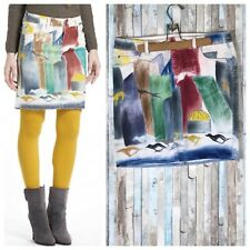 Anthropologie 29 Hand Painted Hives Colorful Denim Pencil Skirt Art To Wear