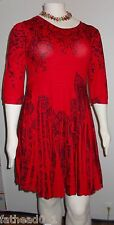 Womens 3X Sweater Dress Pleated Skirt Red Black Plus Size  3 X The Paragon
