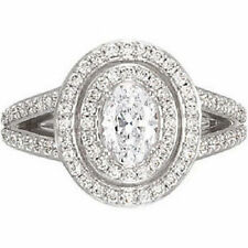 1 ct Oval Shape Diamond Wedding Halo style Engagement Ring G SI1 14k White Gold