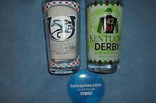 New 2017-2016  Kentucky Derby Glass Set with  winners button