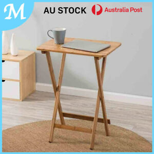 Bamboo Folding Bedside Table Laptop Coffee Free Post Reading Outdoor AU stock