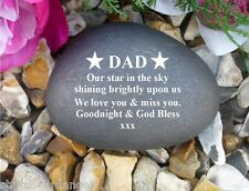 Personalised Pebble (Stone effect) - Memorial - Weatherproof - Stars