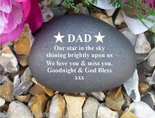 Memorial Gift Personalised Pebble (Stone effect) DAD/Star