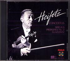 Jascha Heifetz Sibelius Prokofiev Glazunov Violin Concerto Munch Hendl RCA CD 86
