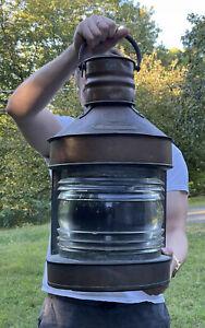 LARGE Antique Copper Masthead Nautical Ship's Lantern Maritime w/ Glass Lens