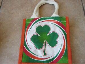 SMALL IRISH IRELAND  JUTE TOTE BAG SHOPPING TRAVEL BEACH  - A21