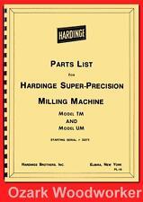 Hardinge Milling Machine Models Tm Amp Um Parts Manual Serial 32273 Amp Up 1118
