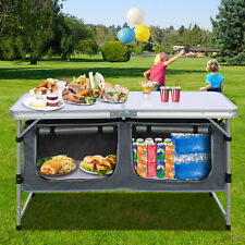 Portable Aluminum Camping Folding Picnic Kitchen Table wCarry Handle and Storage