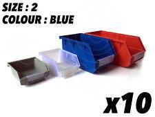 10 X Size2 Bleu Stockage Petites Pièces Poubelles Boîtes Garage Atelier 143 X