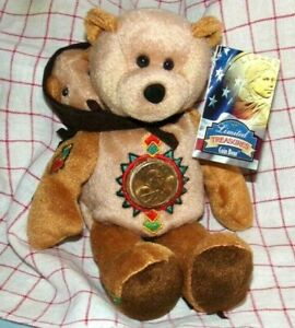 SACAGAWEA & POMP,Limited,Treasures,Coin Bear,With,2000 LIBERTY DOLLAR,MINT!