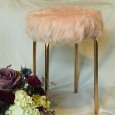 Faux Fur Vanity Stool, Pink/Rose Gold