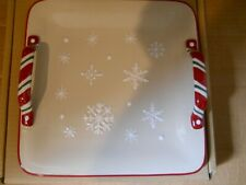 Longaberger Snowflake Cookie Platter with Handles Christmas Holiday New in Box