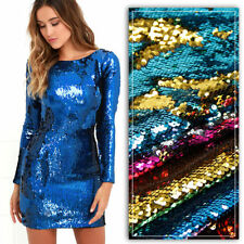 Sparkly Sequin Mesh 2 Way Stretch Fabric Reversible Iridescent 2 Size