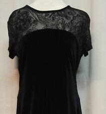 Connected Apparel Womens Sz 10 Special Occasion Dress Black Velvet Sheer Bodice