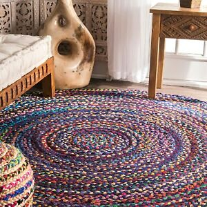 Rug 100% Natural Cotton Handmade 3x3 Feet Carpet Reversible Rustic Look Area Rug