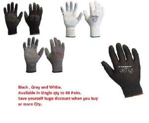 Black Grey White PU Grip Gloves Light weight Knitted Garden builder Wet Gloves