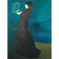 Rippl Ronai Jozsef Woman With A Birdcage Canvas Art Print Poster