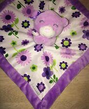 Carters Lovey Purple Bear Baby Blanket Closed Eyes Flowers Bow Green White