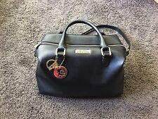 Versace Collections Women Pebbled Leather Handbag Satchel Black