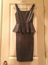 NWT $297 Alice and Olivia Shiny Peplum Stretchy Dress Size 0