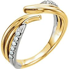 Genuine Diamonds 1/8 cttw Bypass Design Band Ring 14K. Solid Gold Size 7 Sizable