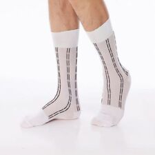White Sheer Nylon Socks With Vertical Black Line Pattern. Mid Calf Length.