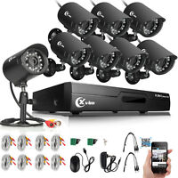 XVIM 8CH 1080N HDMI DVR Video 1500TVL Outdoor CCTV Home Security Cameras System
