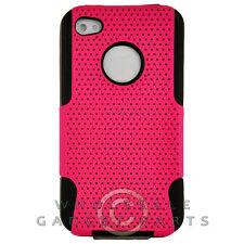 Apple iPhone 4/i4S Hybrid Mesh Case Hot Pink Case Cover Shell Protector Guard