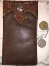 Tony Lama Western Mens Wallet Bifold Overlay Rawhide Laced Concho Brown 5174044