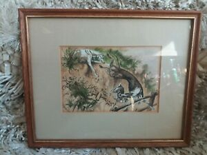 R.H Moore Antique Coloured Engraving Print Lurchers Greyhounds Hunting A Hare