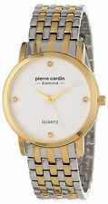 Pierre Cardin Men's Gold Tone PC900911001 Diamond Accent Round Quartz Watch New
