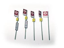 PACK OF 5 LONDON TRANSPORT BUS STOP SIGNS OO 1:76 SCALE MODEL RAILWAY - S012-OO