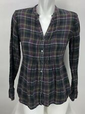 Converse One Star Womens Long Sleeve Button Front Blouse Sz S Gray Plaid