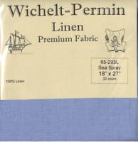 Wichelt Permin PREMIUM LINEN FABRIC 32 Count Cross Stitch 18 x 27 SEA SPRAY BLUE